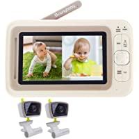 Baby Monitor Split Screen with 2 Cameras, Extended 12hrs Battery Life, Wide View, Large Screen, Long Range, Night Vision, Temperature Monitoring, 2 Way Talk Back, Power Saving by Moonybaby