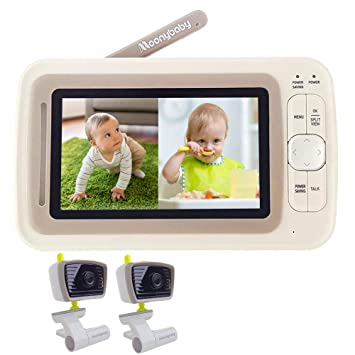 "Moonybaby 5/"" SPLIT SCREEN Digital Video Baby Monitor with 2 WILD-ANGLE Cameras"