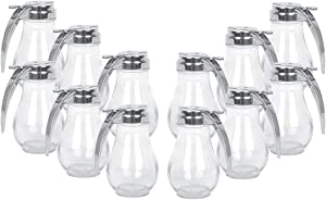 Glass Beverage Dispenser 14 Oz with Handle and Cast Zinc Top, Syrup Dispenser (12)