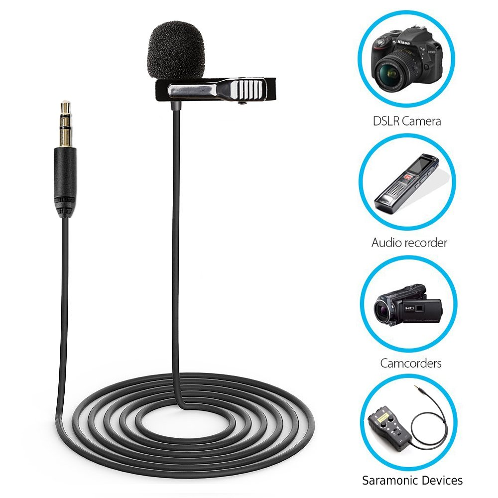 Saramonic SR-XLM1 Broadcast-Quality Lavalier Omnidirectional Microphone with 3.5mm TRS Connector for DSLR Cameras, Camcorders, Recorders Devices by Saramonic