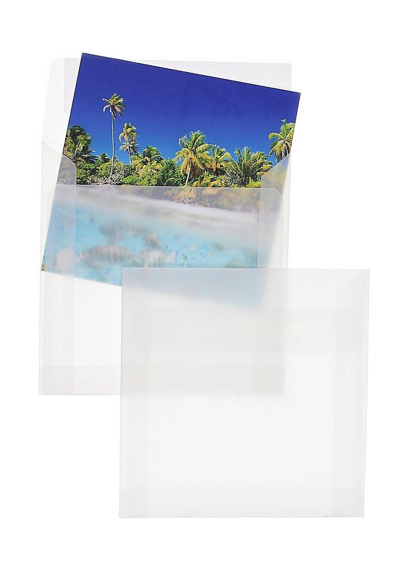 Briefh/üllen mit Abziehstreifen Umschl/äge mit 2 Jahren Zufriedenheitsgarantie Couverts 140 x 140 mm Wei/ß Kuverts 100 St/ück Premium Transparent-H/üllen