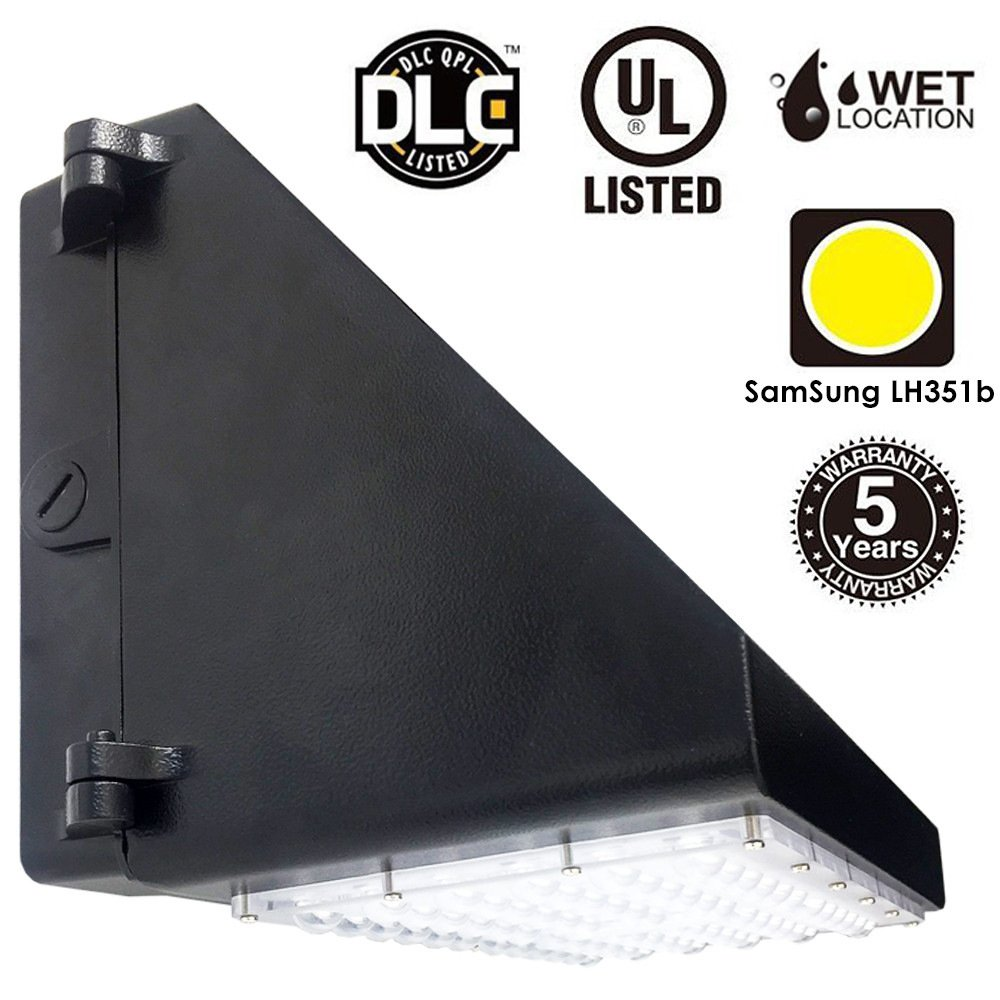 Docheer 90W LED Wall Pack Lights10800Lumens, Daylight 5000K Wall Mount Pack Light Waterproof IP65 Exterior Entrance Security Lighting,UL, DLC Listed