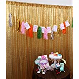 TRLYC 20Ft W by 10FT H Gold Sequin Backdrop Curtain for Wedding Halloween Thanksgiving Day Christmas