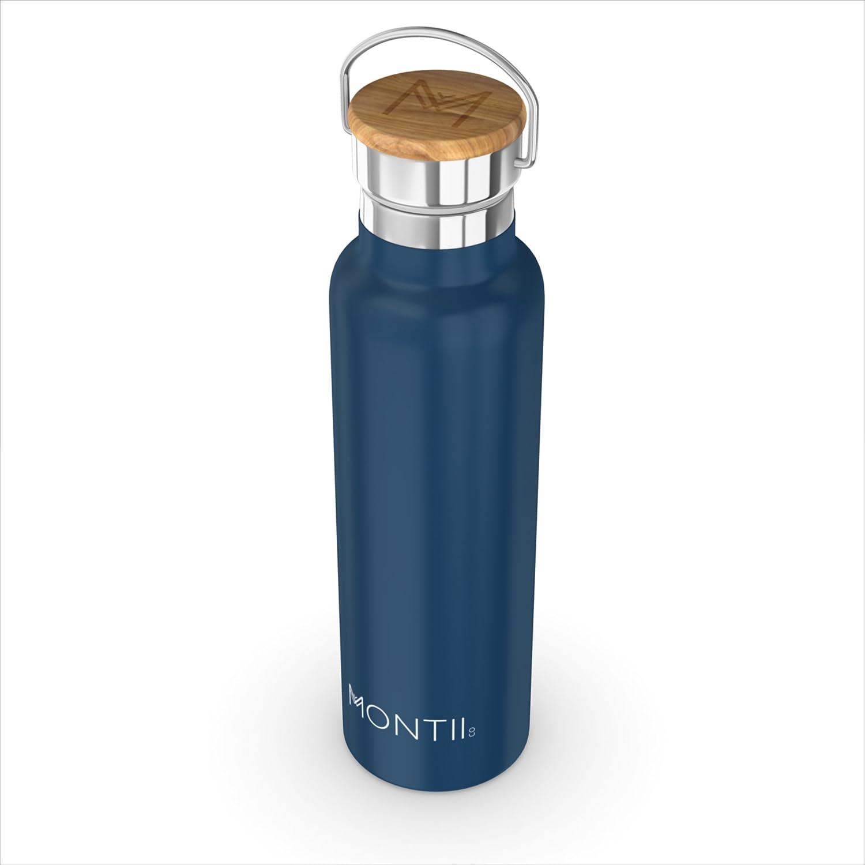 Montii – Botella de agua de acero inoxidable, 600 ml, aislada, azul marino