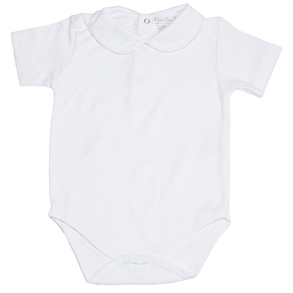 Kissy Kissy Baby Basic Short Sleeve Collared Bodysuit with Bebe Collar