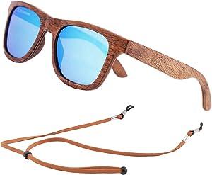 Polarized Wood Sunglasses Men, Wooden Bamboo Sunglasses for Women
