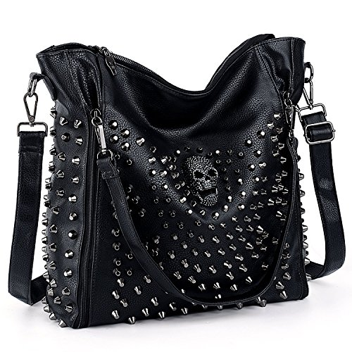 UTO Women Handbag PU Leather Skull Tote Crossbody Shoulder Bag with Wristlet Wallet A Black ()