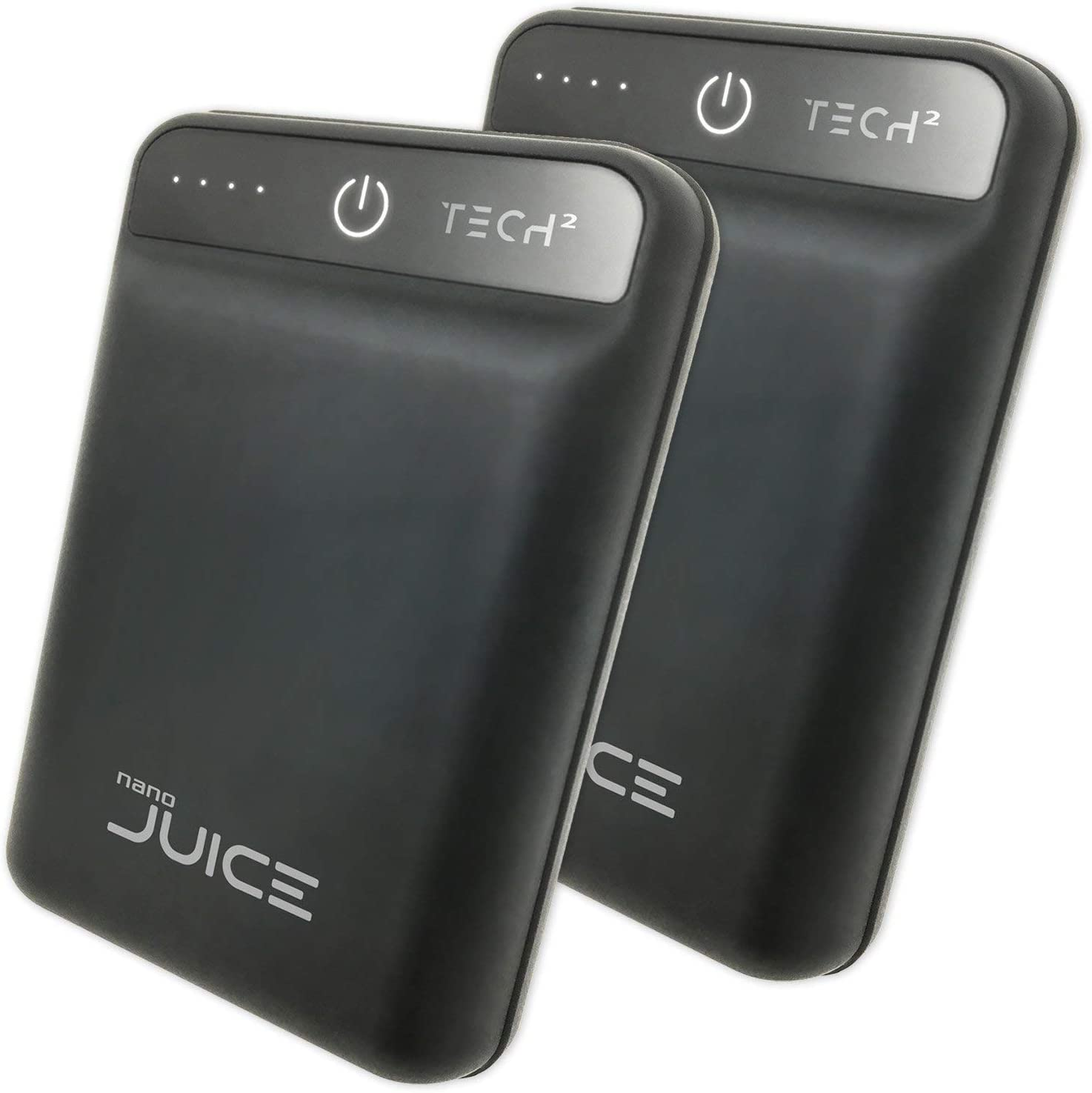 Compact Tech2 Nano Juice Pack of 2 Portable Chargers One The Smallest Lightest 10,000 mAh Power Banks High-Speed Charging Technology 2 USB Ports for iPhone Samsung Galaxy Black with Rubber Finish