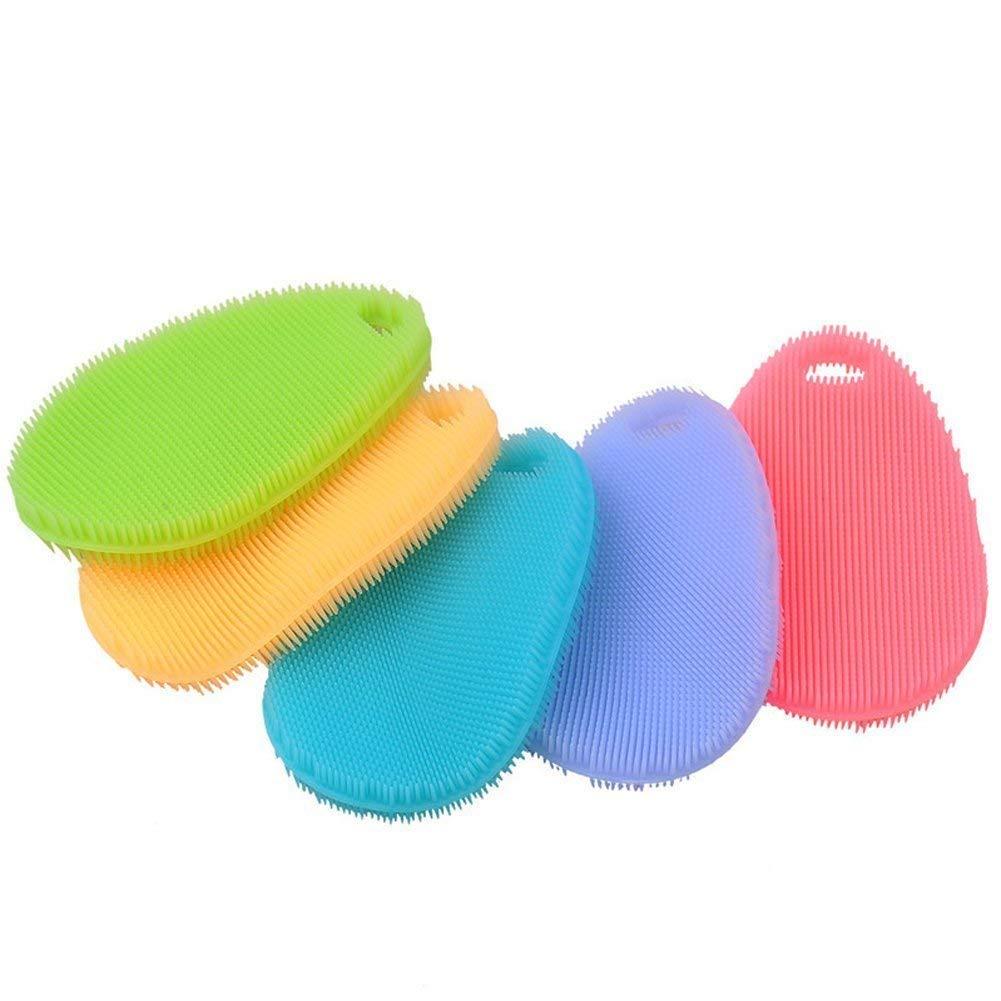 Easyinsmile Multifunctiona Silicone Dish Washing Brush - Kitchen Wash Tool Pot/Pan Dish Bowl/Washing Fruit and Vegetable 5 pcs per Pack (Oval)