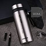 Silver 900Ml Stainless Steel Flask Water Bottle Coffee Travel Mug Cup