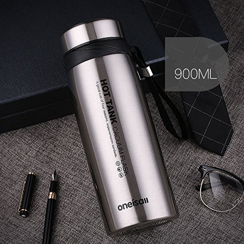Silver 900Ml Stainless Steel Flask Water Bottle Coffee Travel Mug Cup by Travel Mugs