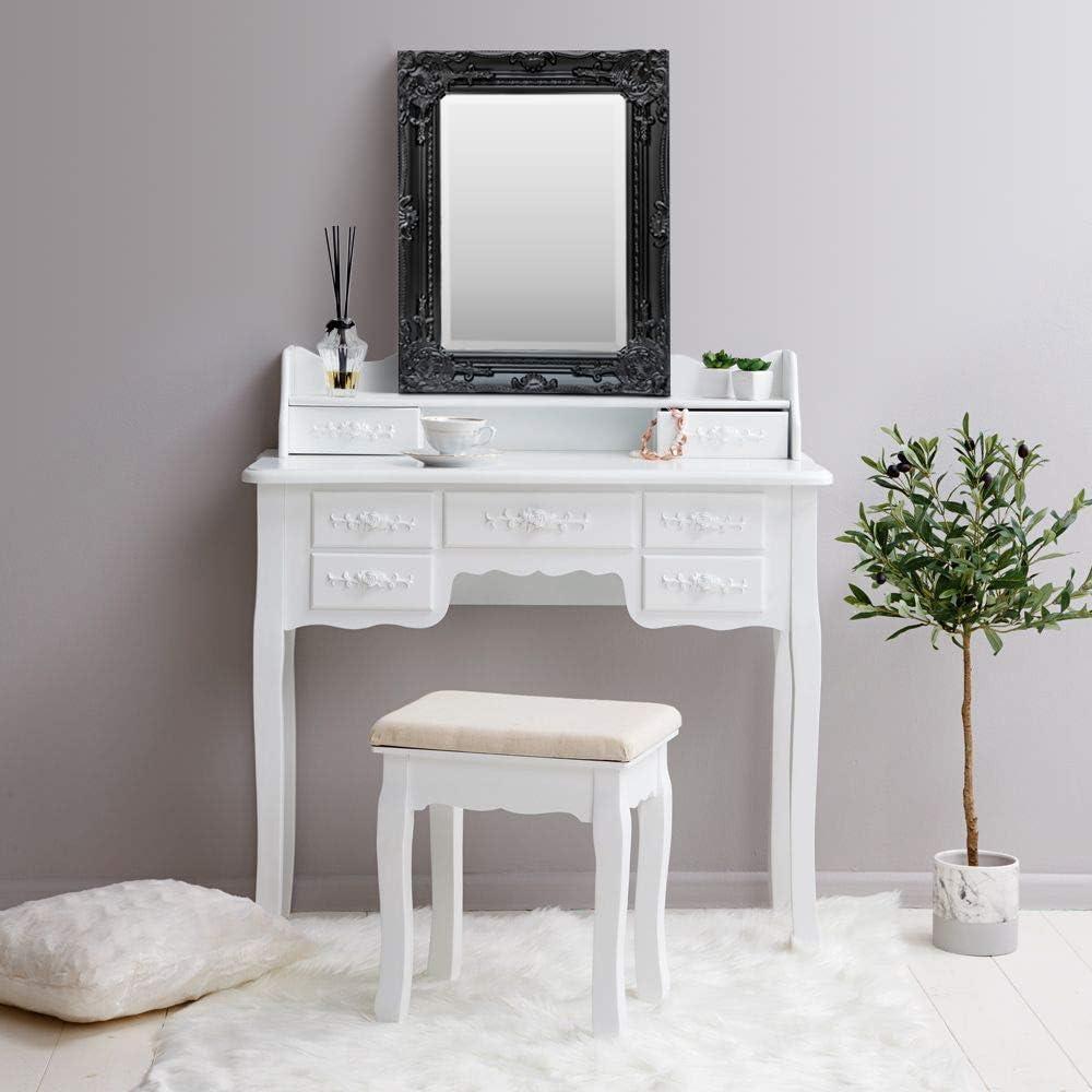 Specchio in Stile Shabby Chic Barocco Nero Antico Legno Massello Rococo Fatto a Mano 42x53 cm