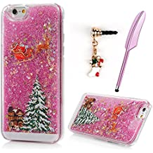 iPhone 6S Plus Case, iPhone 6 Plus Case, Liquid Glitter Case Cover Merry Christmas Tree Santa Claus Carriage Deer Bling Flowing Moving Star Holiday Gift Clear Hard PC Plastic Bumper ZSTVIVA - Pink