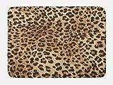 Ambesonne Leopard Print Bath Mat, Skin Pattern of a Wild African Safari Animal Powerful Panthera Big Cat, Plush Bathroom Decor Mat with Non Slip Backing, 29.5 W X 17.5 W Inches, Pale Brown Black