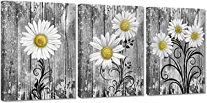 iHAPPYWALL 3 Pieces Bathroom Wall Art Yellow Gray Daisy Flowers Vintage Grey Floral Picture Print on Canvas for Rustic Bath Bedroom Kitchen Decor Stretched and Framed Ready to Hang 12x16inchx3pcs