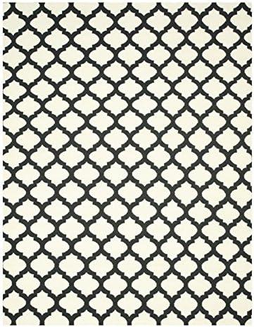 EORC DM11BK Handmade Wool Reversible Modern Moroccan Kilim Rug, 9 x 12 , Black