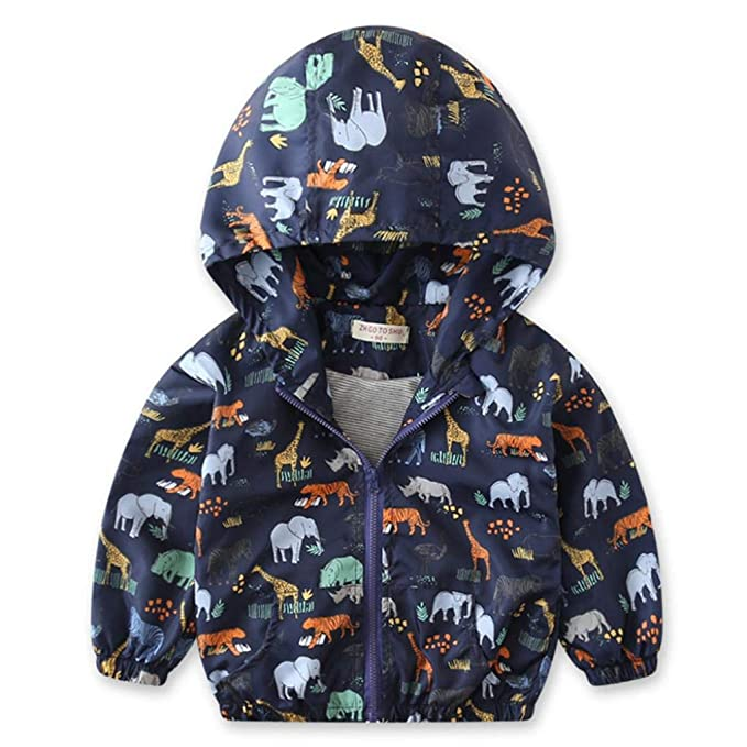 c62848d889b7 Amazon.com: Sarahwu Little Kids Autumn Coat, Infant Toddler Kids Little Boys  Girls Dinosaur Print Hooded Windbreaker Coat Jacket: Clothing