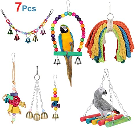 Parrot Chewing Rope Bird Cage Hanging Swing Perch Chew Cockatiel Budgie Parakeet