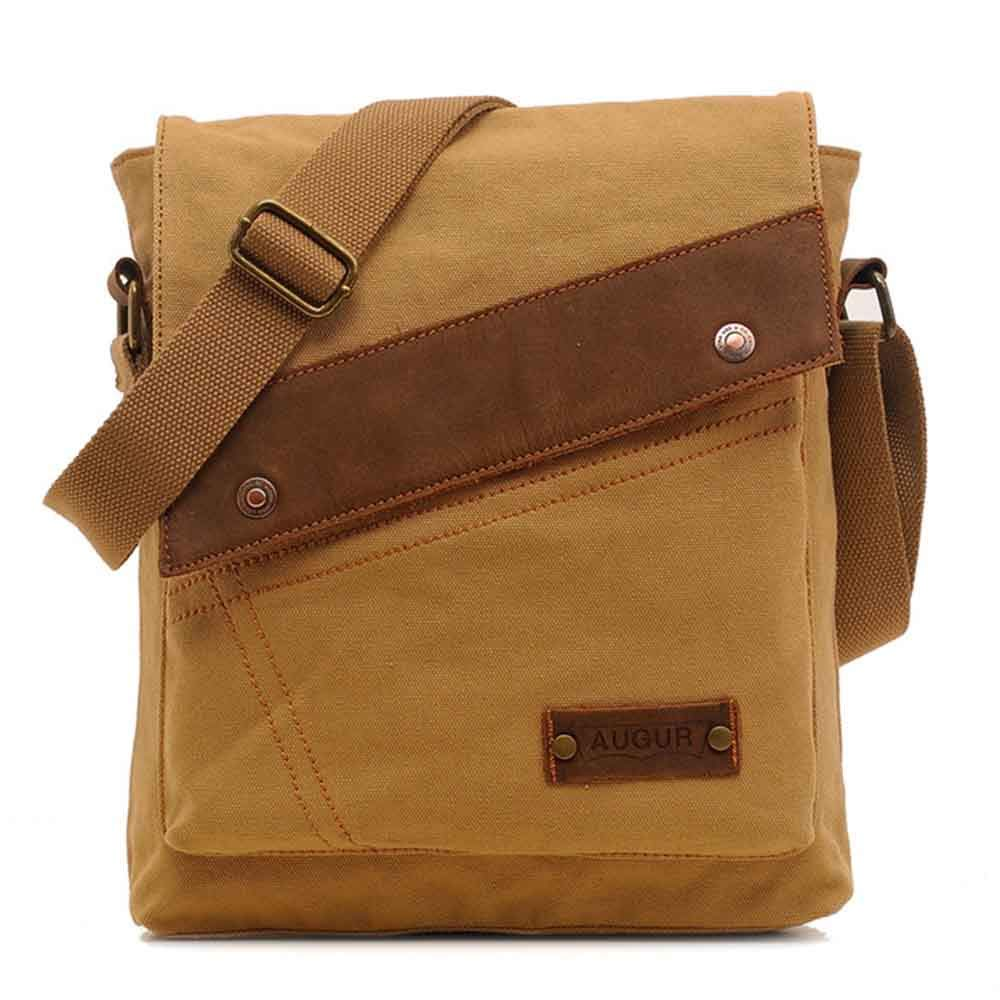 Canvas Messenger Bag Shoulder Crossbody Pack for Travel Hiking Camping College School (Army Green)