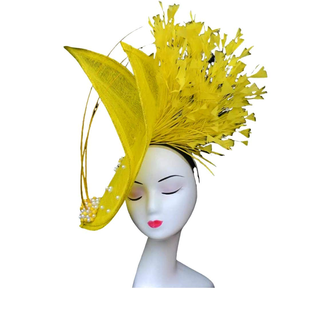 Feather Kentucky Derby headpiece Yellow Fascinator
