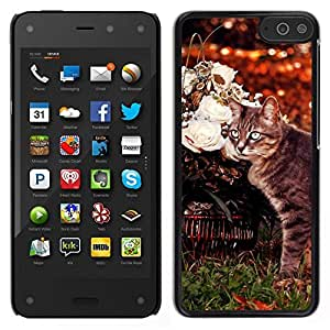 Caucho caso de Shell duro de la cubierta de accesorios de protección BY RAYDREAMMM - Amazon Fire Phone - Curl Americano Shorthair gato Manx