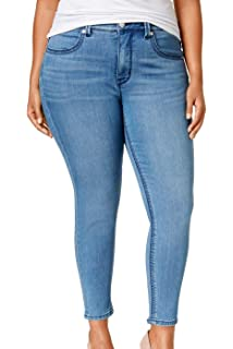 58dc3c931a0 Melissa McCarthy Seven7 Womens Plus Slimming High Rise Pencil Jeans Blue 24