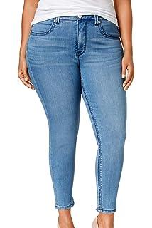 55ab15d00e6 Melissa McCarthy Seven7 Womens Plus Slimming High Rise Pencil Jeans Blue 24