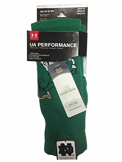 Under Armour Notre Dame Fighting Irish Adult NCAA Crew Logo Socks - Green, Medium