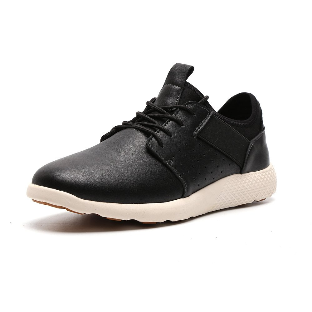 LANGBAO Men's Leather Fashion Casual Sneaker Lace-up Shoes Lifestyle Flex Runner 7036-2 Black 10.5