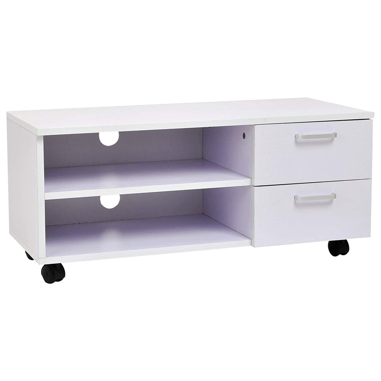 HOMCOM Wooden Mobile TV Stand Cabinet Media Center Storage Console with Drawers 2-tier Shelf White Sold by MHSTAR