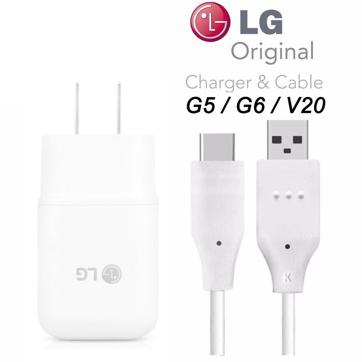 Genuine LG Quick Wall Charger + Type-C USB-C Cable for LG G5 / G6 / V20 / V30 / G7 - 18W QuickCharge 3.0 Certified - 100% Original - Bulk Packaging