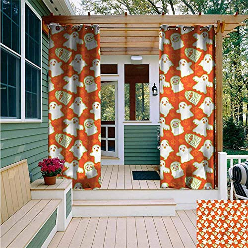 Beihai1Sun Outdoor Curtain Panel for Patio,Burnt Orange Funny Halloween Ghost,Room Darkening, Noise Reducing,W72x108L