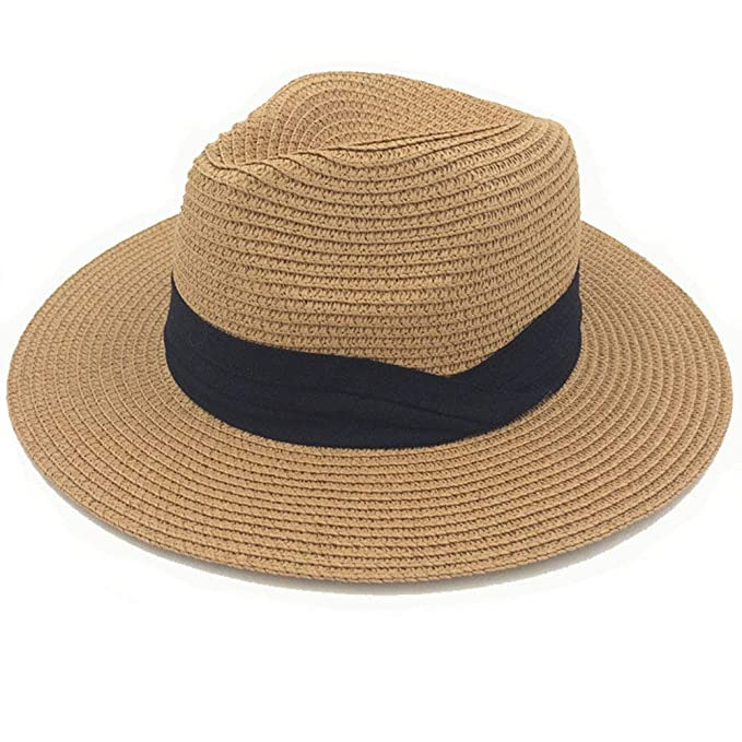 82c927352b5be Image Unavailable. Image not available for. Color  Women Wide Brim Straw  Panama Roll up Hat UPF50+ Fedora Beach Sun ...