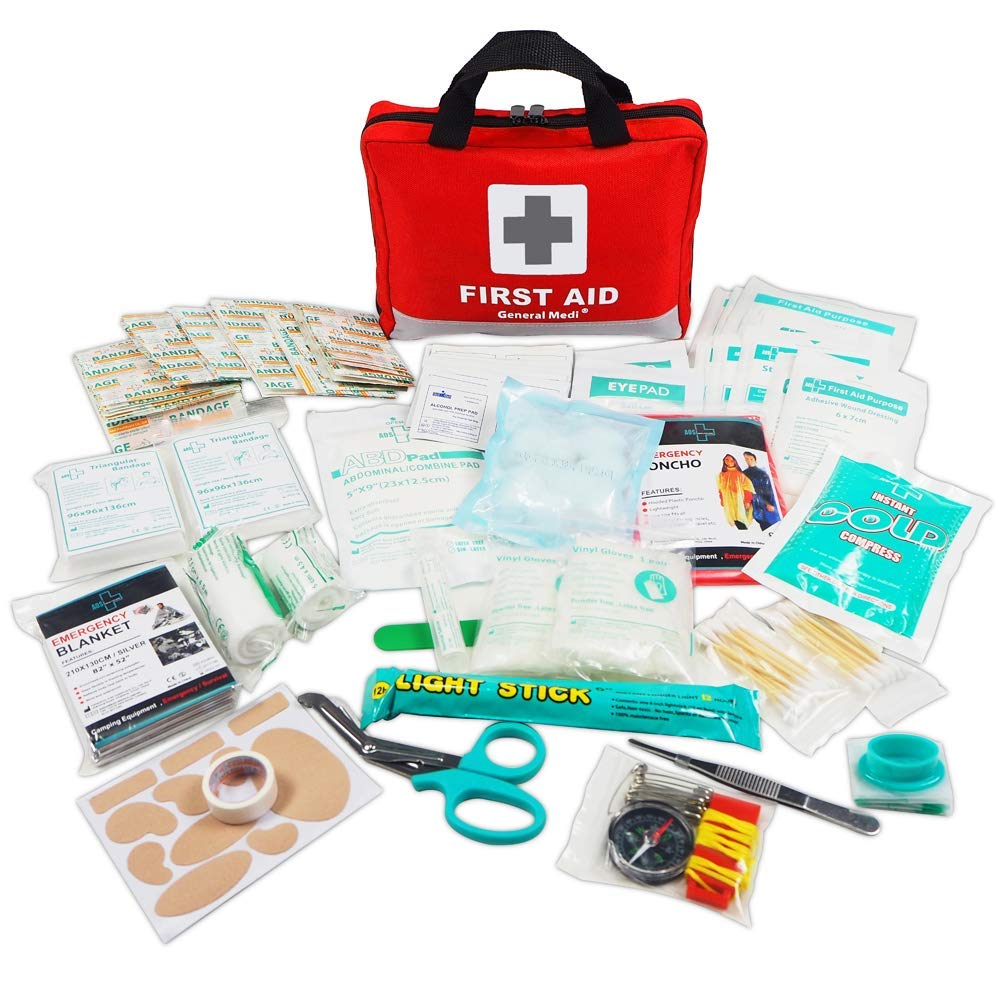 First Aid Kit -309 Pieces- Reflective Bag Design - Including Eyewash, Bandages,Moleskin Pad,CPR Face Mask and Emergency Blanket for Travel, Home, Office, Car, Camping, Workplace by General Medi
