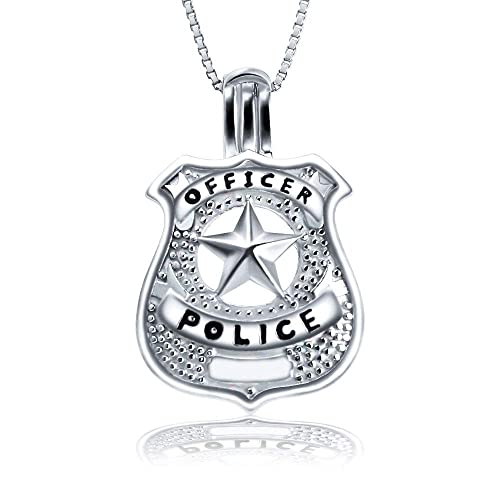 c874c7fdec811 AIM Jewelry 925 Sterling Silver Police Officers Badge Cage Pendant  Necklace, Design Medal Locket Cage Pendants for Pearl