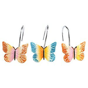 AGPTEK 12PCS Home Fashions Butterfly Anti Rust Decorative Resin Hooks for Bathroom Shower Curtain,Bedroom,Living Room Curtain