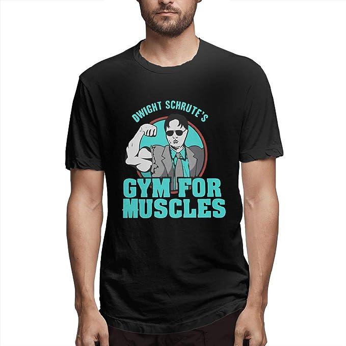 7258fb5c Quemada Mens Dwight Schrute's Gym Muscles Pattern Design Short Sleeve  Novelty T Shirt Black