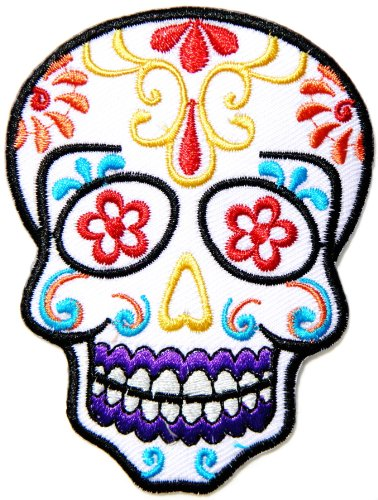 Flower Sugar Skull Day of the Dead Lady Rider Logo Biker Jacket T shirt Patch Sew Iron on Embroidered Badge Custom