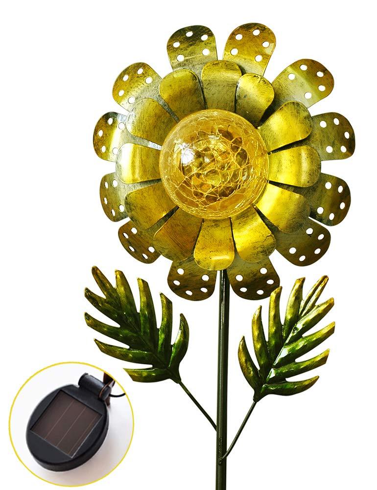 BRIGHT ZEAL 8'' Large Metal & Glass Solar Sunflower Yard Art - Solar Garden Decorations LED Solar Garden Statue - Solar Lights Outdoor Decor Yard Decorations - Sunflower Lights Solar Garden Decor BZA