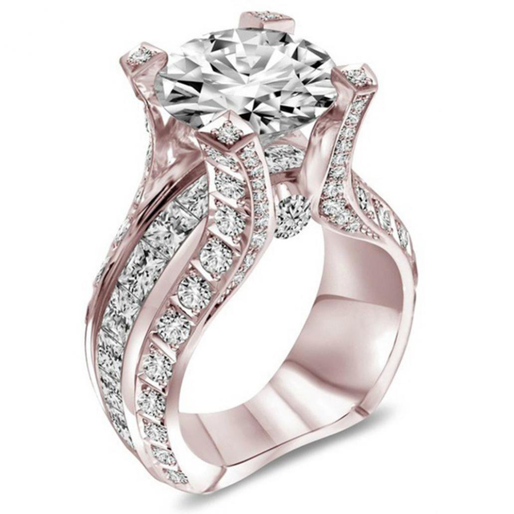 Yamalans Elegant Square Cubic Zirconia Wedding Ring Women's Engagement Party Jewelry Size US 7