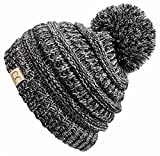 H-6847-816k.06 Girls Winter Hat Warm Knit Slouchy Kids Beanie Pom - Grey/Black #31