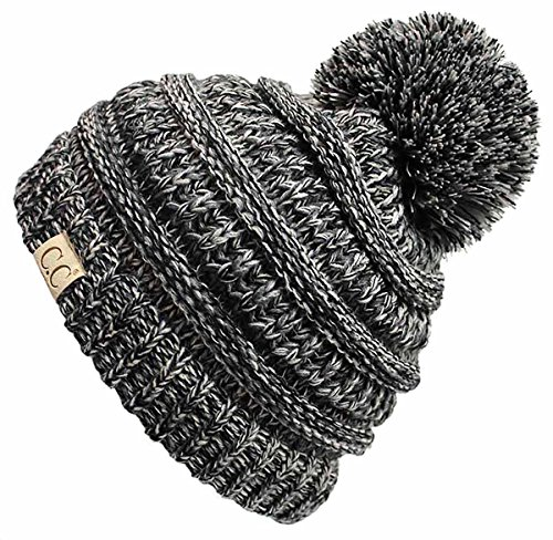 (H-6847-816k.06 Girls Winter Hat Warm Knit Slouchy Kids Beanie Pom - Grey/Black #31 )
