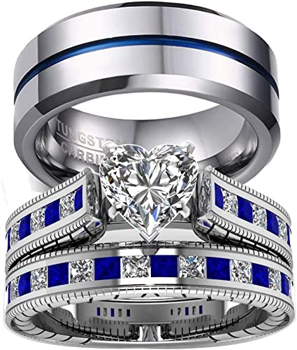 Amazon Com Gy Jewelry 3pc His And Hers Wedding Ring Sets Couples