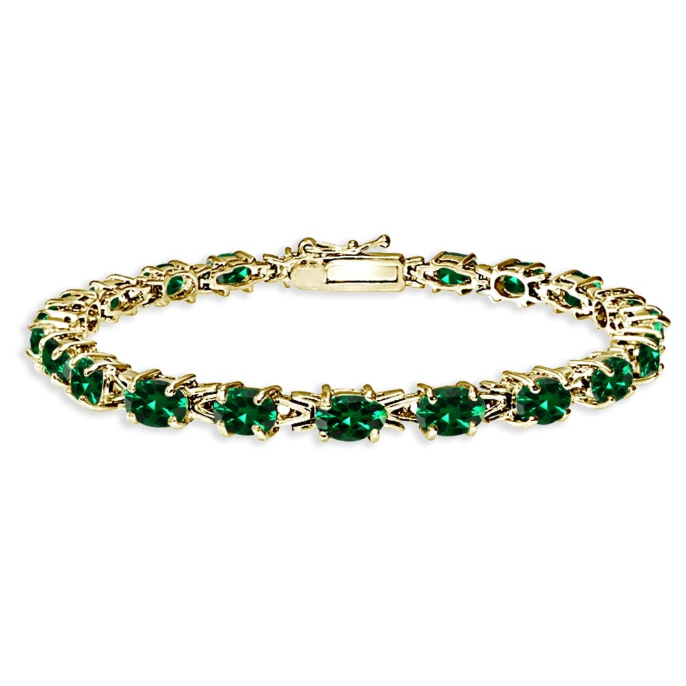 Yellow Gold Flashed Sterling Silver Polished Simulated Emerald 6x4mm Oval-cut Link Tennis Bracelet