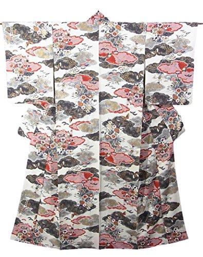 ビリーヤギインストラクター懐疑論リサイクル 着物 小紋 雲取りに菊や牡丹 正絹 袷 裄60.5cm 身丈162cm