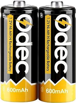 Odec N Pilas Recargables, Ni-MH 600mAh Ciclo Profundo 1,2V Batería con Estuches de Almacenamiento, Pack de 2: Amazon.es: Electrónica