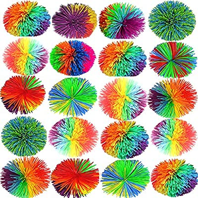 Pack of 20PCS Monkey Stringy Balls, size of 2.5 INCHES 6CM stringy Play Ball, Sensory Fidget Toys, Stress Balls with Rainbow Pom Ball, Colorful Bouncy Ball/: Toys & Games