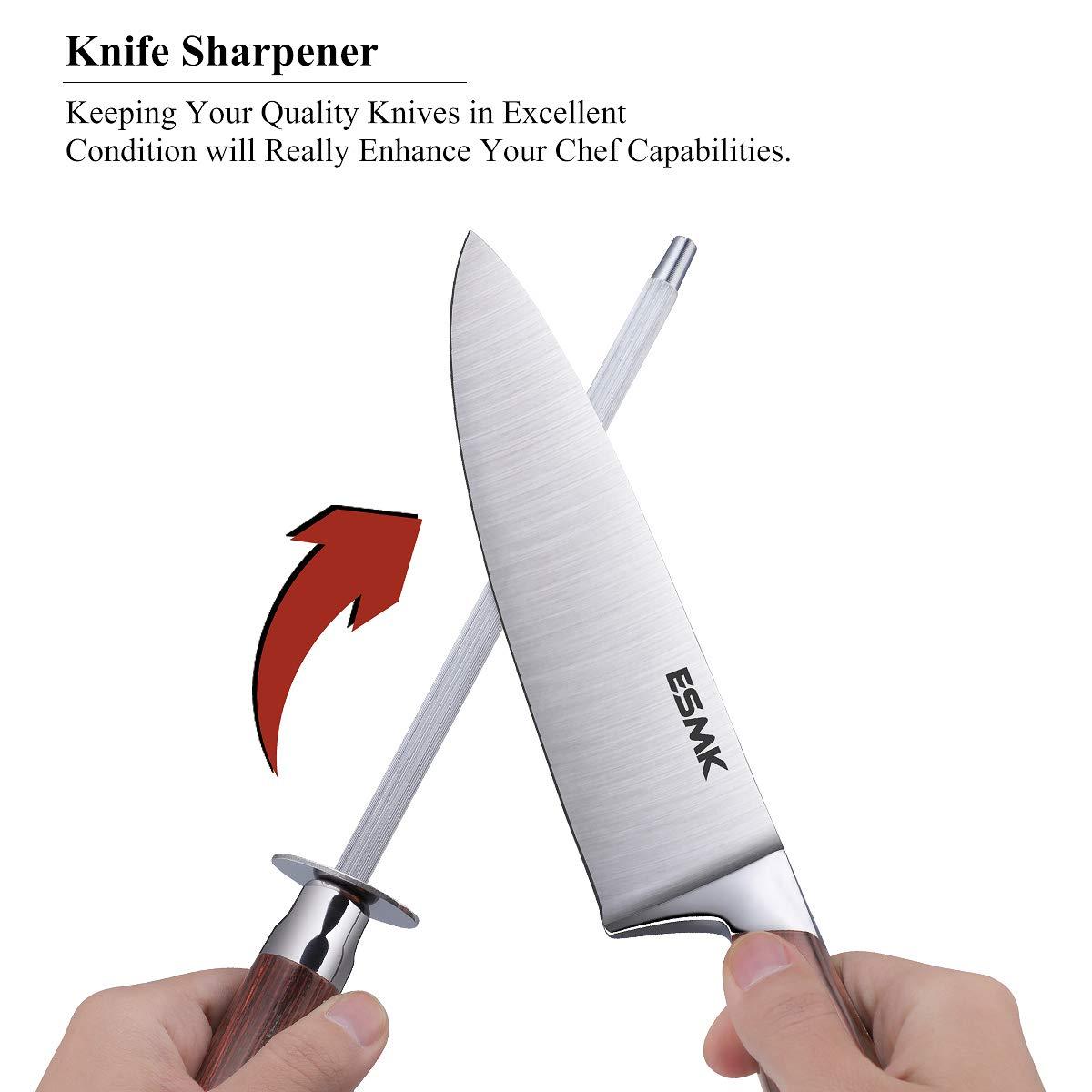 Knife Set, 15-Piece Kitchen Knife Set with Block Wooden, Manual Sharpening for Chef Knife Block Set, German Stainless Steel, ESMK (15 PCs Knife Block Set) by ESMK (Image #4)