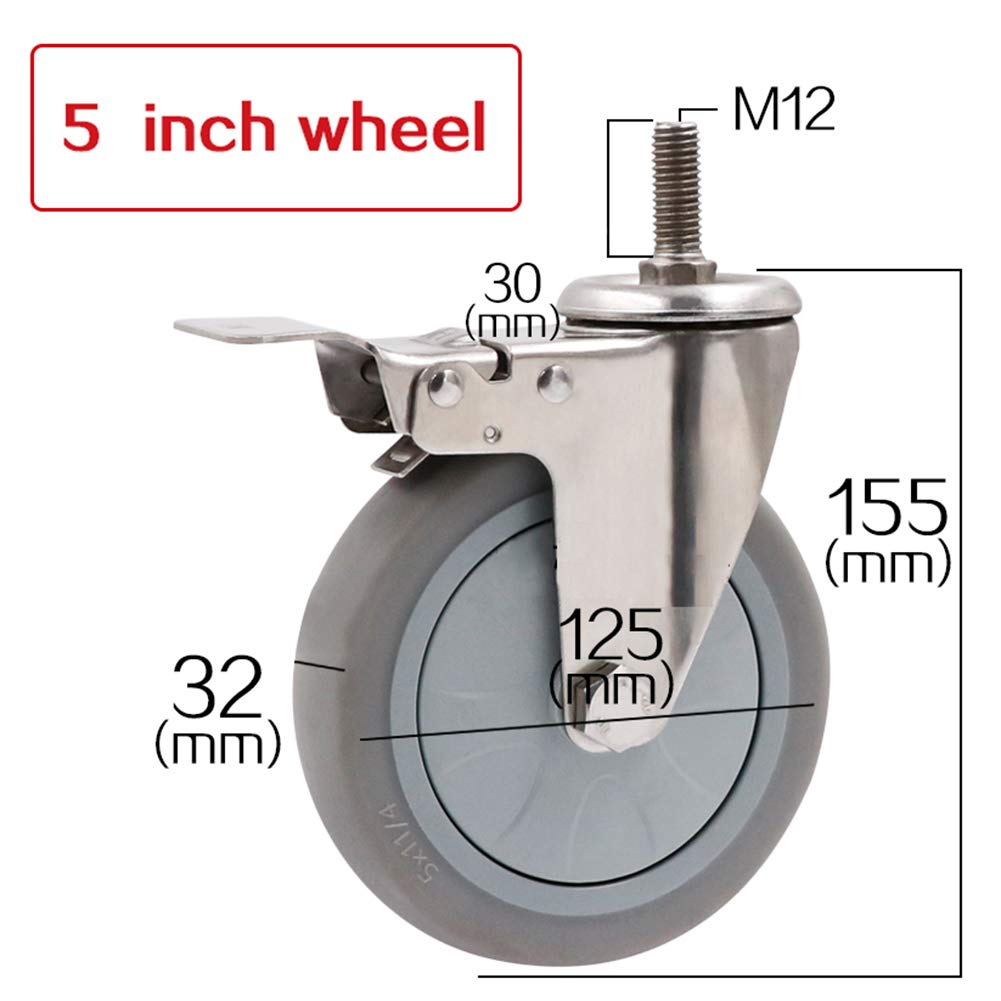 Casters Swivel with Brakes, Threaded Rod