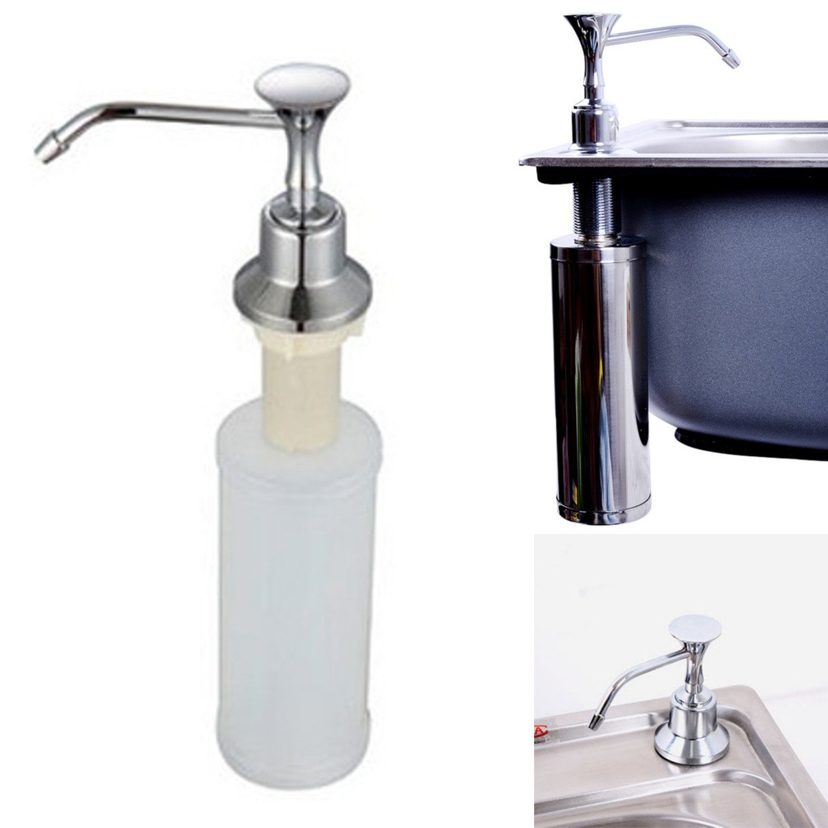 220ml White Kitchen Chrome Liquid Soap Dispenser Bathroom Sink Pump